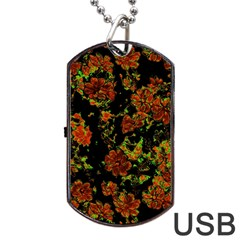 Floral Dreams 12 C Dog Tag Usb Flash (two Sides) by MoreColorsinLife