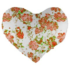 Floral Dreams 12 D Large 19  Premium Heart Shape Cushions by MoreColorsinLife