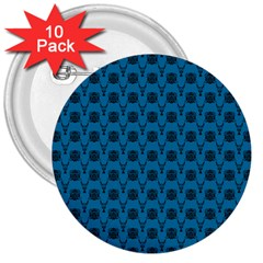 Lion Vs Gazelle Damask In Teal 3  Buttons (10 Pack)