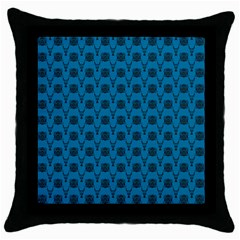 Lion Vs Gazelle Damask In Teal Throw Pillow Case (black)