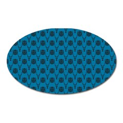 Lion Vs Gazelle Damask In Teal Oval Magnet