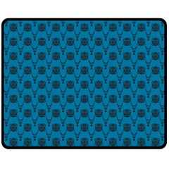 Lion Vs Gazelle Damask In Teal Fleece Blanket (medium)  by emilyzragz