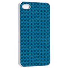 Lion Vs Gazelle Damask In Teal Apple Iphone 4/4s Seamless Case (white)