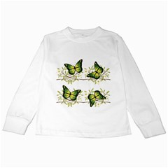 Four Green Butterflies Kids Long Sleeve T Shirt by linceazul