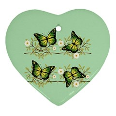 Four Green Butterflies Ornament (heart) by linceazul