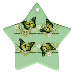 Four Green Butterflies Ornament (star) by linceazul