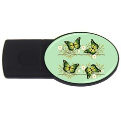 Four Green Butterflies Usb Flash Drive Oval (2 Gb) by linceazul
