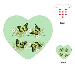 Four Green Butterflies Playing Cards (heart)  by linceazul