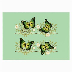 Four Green Butterflies Large Glasses Cloth by linceazul