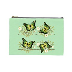 Four Green Butterflies Cosmetic Bag (large)  by linceazul