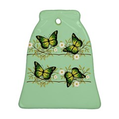 Four Green Butterflies Bell Ornament (two Sides) by linceazul