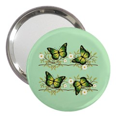 Four Green Butterflies 3  Handbag Mirrors by linceazul