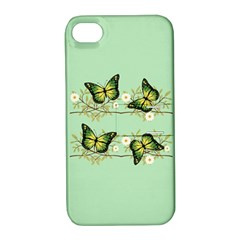 Four Green Butterflies Apple Iphone 4/4s Hardshell Case With Stand by linceazul