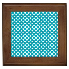 Sleeping Kitties Polka Dots Teal Framed Tiles