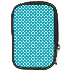 Sleeping Kitties Polka Dots Teal Compact Camera Cases