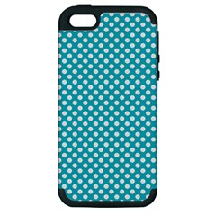 Sleeping Kitties Polka Dots Teal Apple Iphone 5 Hardshell Case (pc+silicone) by emilyzragz