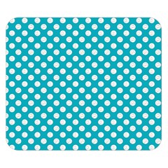 Sleeping Kitties Polka Dots Teal Double Sided Flano Blanket (small)  by emilyzragz