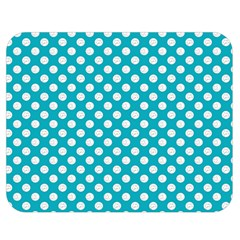 Sleeping Kitties Polka Dots Teal Double Sided Flano Blanket (medium)  by emilyzragz