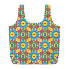 Geometric Multicolored Print Full Print Recycle Bags (l)  by dflcprints