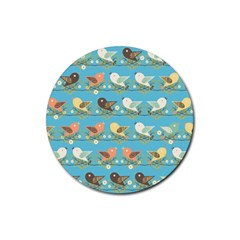 Assorted Birds Pattern Rubber Coaster (round)  by linceazul