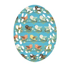 Assorted Birds Pattern Ornament (oval Filigree) by linceazul
