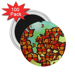 Monarch Butterflies 2 25  Magnets (100 Pack)  by linceazul