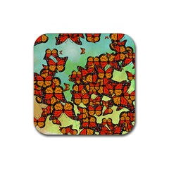 Monarch Butterflies Rubber Square Coaster (4 Pack)  by linceazul