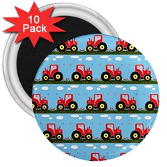 Toy Tractor Pattern 3  Magnets (10 Pack)  by linceazul