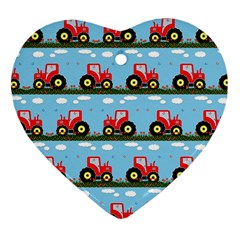 Toy Tractor Pattern Heart Ornament (two Sides) by linceazul