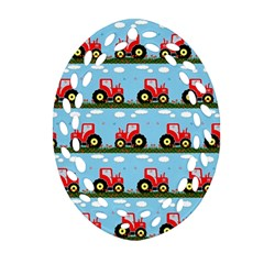 Toy Tractor Pattern Oval Filigree Ornament (two Sides) by linceazul