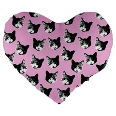 Cat Pattern Large 19  Premium Heart Shape Cushions
