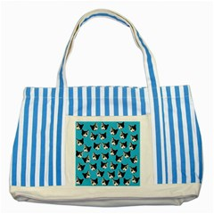 Cat Pattern Striped Blue Tote Bag by Valentinaart