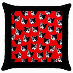 Cat Pattern Throw Pillow Case (black) by Valentinaart