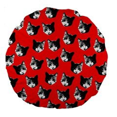 Cat Pattern Large 18  Premium Round Cushions by Valentinaart