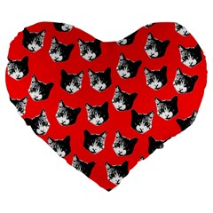 Cat Pattern Large 19  Premium Heart Shape Cushions by Valentinaart