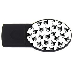 Cat Pattern Usb Flash Drive Oval (4 Gb) by Valentinaart