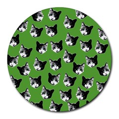 Cat Pattern Round Mousepads by Valentinaart