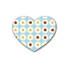 Ladybugs Pattern Rubber Coaster (heart)  by linceazul