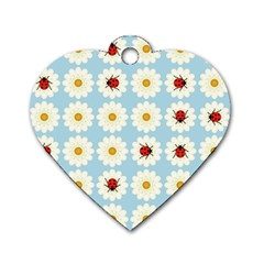 Ladybugs Pattern Dog Tag Heart (one Side) by linceazul