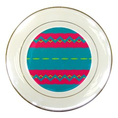 Blue Green Chains        Porcelain Plate by LalyLauraFLM