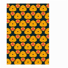 Yellow Pink Shapes Pattern         Small Garden Flag by LalyLauraFLM