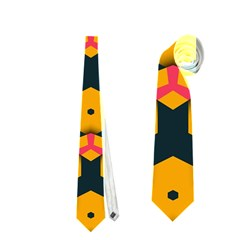 Yellow Pink Shapes Pattern         Necktie by LalyLauraFLM