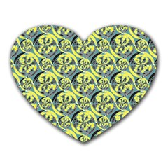 Black And Yellow Pattern Heart Mousepads by linceazul