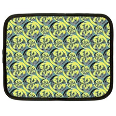 Black And Yellow Pattern Netbook Case (xl)  by linceazul