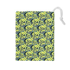 Black And Yellow Pattern Drawstring Pouches (large)  by linceazul