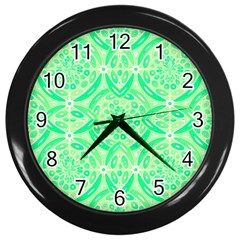 Kiwi Green Geometric Wall Clocks (black) by linceazul