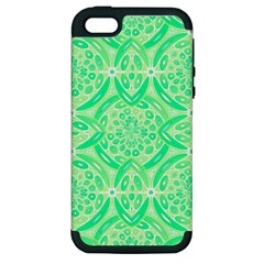 Kiwi Green Geometric Apple Iphone 5 Hardshell Case (pc+silicone) by linceazul