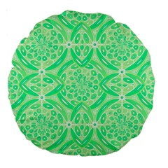 Kiwi Green Geometric Large 18  Premium Round Cushions by linceazul