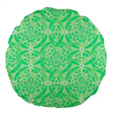 Kiwi Green Geometric Large 18  Premium Flano Round Cushions by linceazul