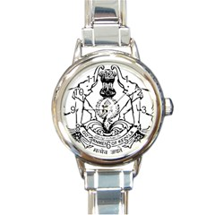 Seal Of Indian State Of Kerala  Round Italian Charm Watch by abbeyz71